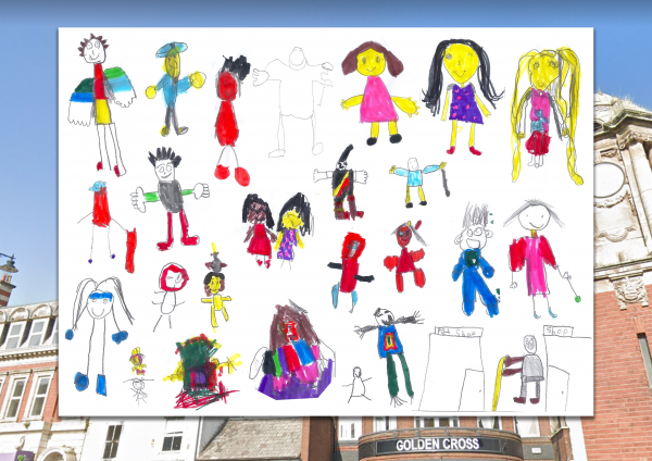 Holyhead Primary School High Street characters, Digital Postcards