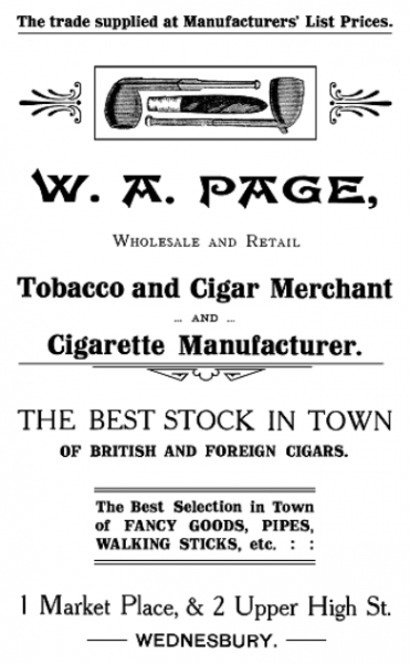 MK1 (W. A Page Tabacconist Advert 1917)