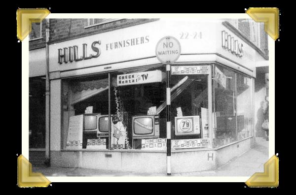 HIlls Furnishers, corner of Russell Street/Lower High Street (courtesy of Teresa Davies)