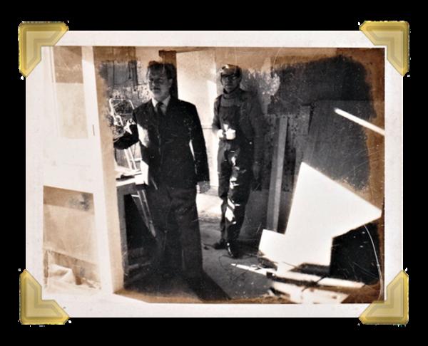Marian's, 39-40 Union Street undergoing refurbishment. Marian Maczka with Eric Wilson 1974