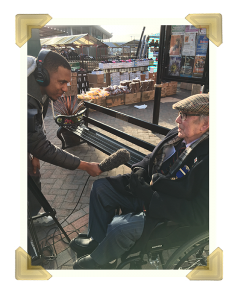William Archer being interviewed on the installation of a bench in Union Street, for his dedication to the people of Wednesbury, 2017