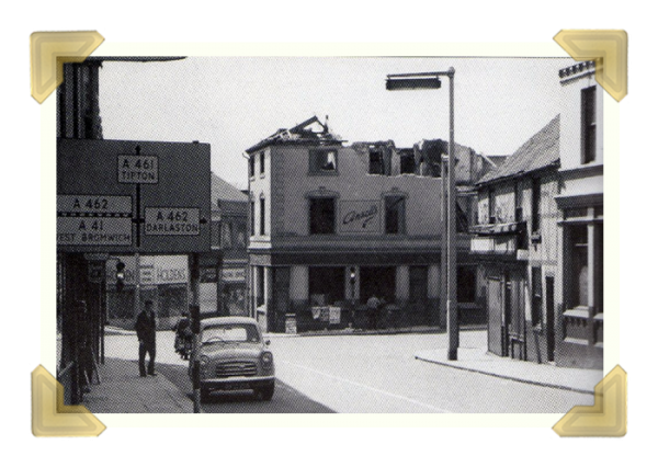 The George Inn being demolished and moved further back on the Union Street junction (courtesy of The History Of Wednesbury)