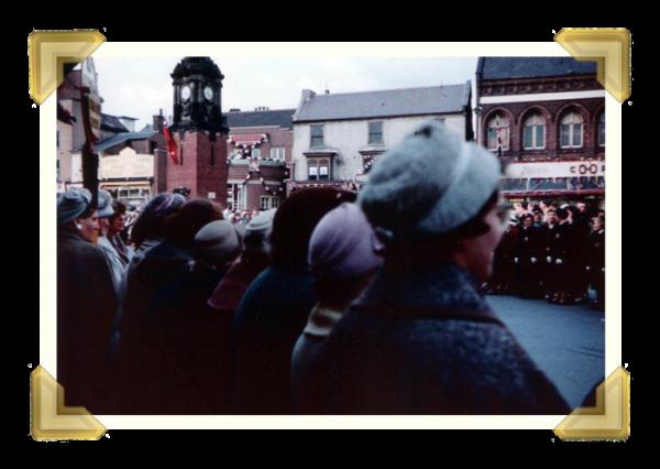 Market Place, waiting for Queen Elizabeth II, 24 May 1962 (courtesy of Ian Bott)