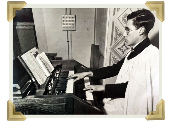 Henry Roberts playing the organ at St Francis of Assisi. At 19, he became the permanent organist and choirmaster at St Francis church