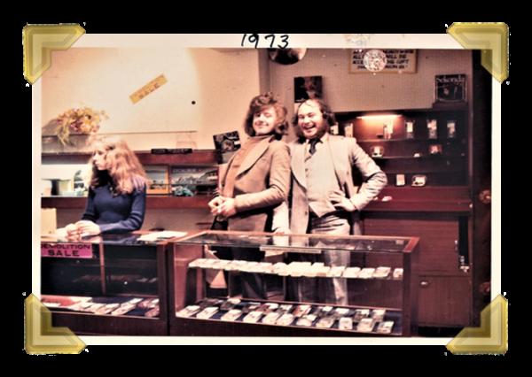 Staff and family, 16 Union Street shop, closing down sale. Linda Spruce_Arthur Dean_Alan Parsons 1973