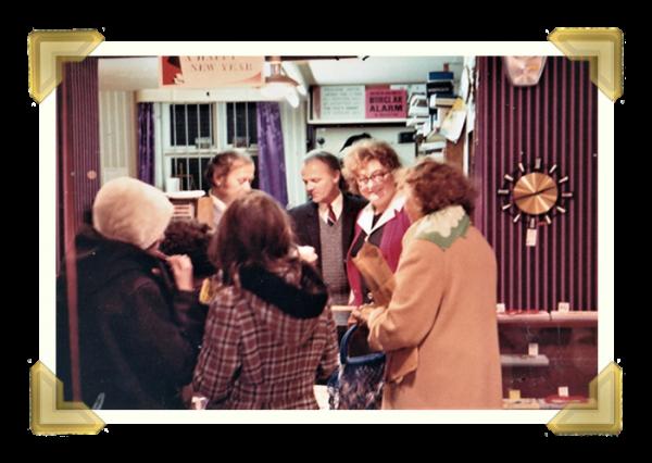 Staff and family, 15-16 Union Street shop closing down sale. Leo Maczka_Joe Tranter_Jean Maczka behind counter 1973