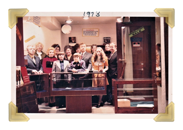 Staff and family, 16 Union Street shop closing down sale 1973
