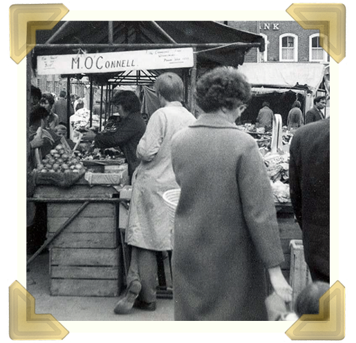 O'Connells market stall, Market Place, 1960s (courtesy of Teresa Davies)