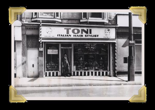 Toni Amorosa, Italian Barber.  Original shop, Upper High Street (courtesy of Ian Bott)