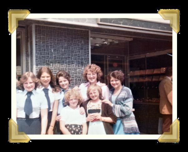 Staff and family, 39-40 Union Street Shop. Back (L-R) Carol Banks, Sue Baker, Debbie Lloyd, Teresa Maczka, Linda. Front Allison Castle, Marie Maczka 1977