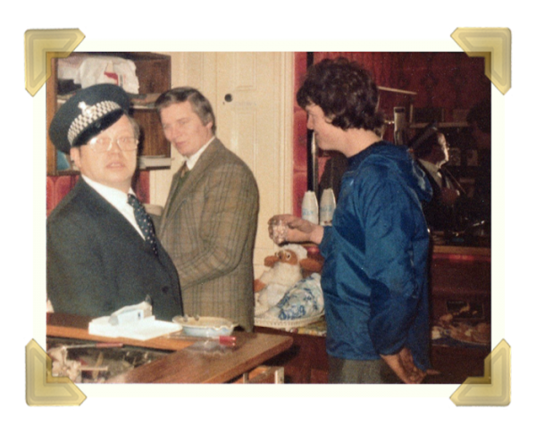 Staff and family, 39-40 Union Street Shop Christmas Eve. Marian Maczka, Sid Forsbury, David Ince 1977