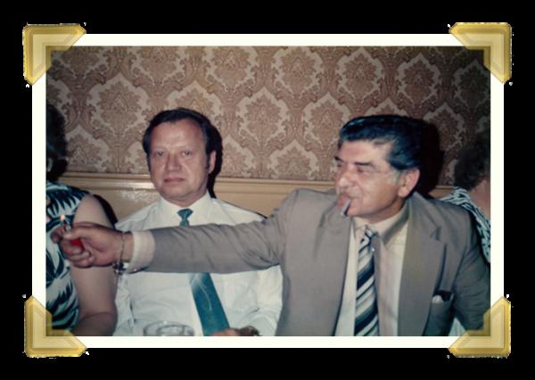 Staff and family, Marian Maczka, Toni Amorosa at a party at The Anchor 1980s