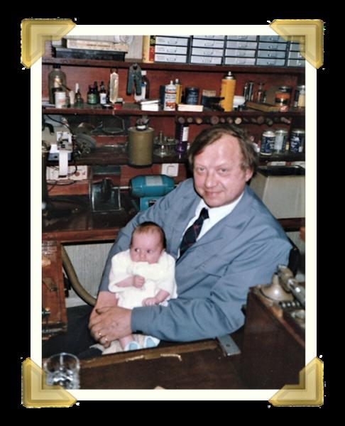 Staff and family, Marian Maczka with Grandson Peter Davies. 39-40 Union Street shop Sat. 24 May 1986