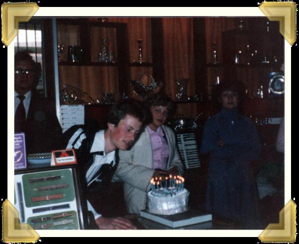 Marian's Jewellers, Union Street (L-R) Marian Maczka Ian Bott's 18th Birthday, Marie Macza, Carol Withers. 21 May 1980