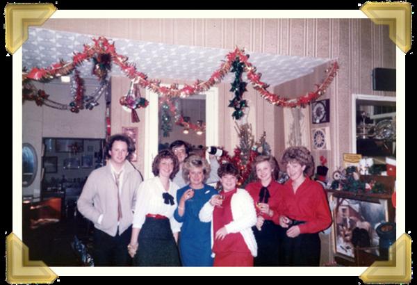 Marian's Jewellers, Union St. (L-R) Ian Bott_Teresa Davies (nee Maczka), Steve Davies, Carol Banks, Gaynor Edwards, Marie Maczka, Alison Castle. Christmas Eve 1984