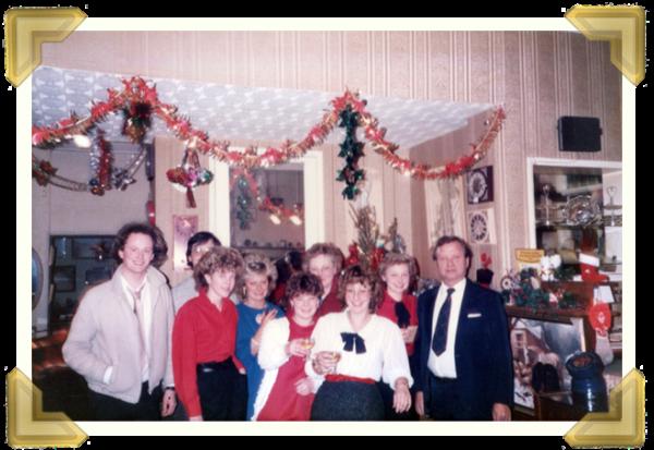 Marian's Jewellers, Union St. (L-R) Ian Bott, Steve Davies, Alison Castle, Carol Banks, Gaynor Edwards, Jean Maczka, Teresa Davies (nee Maczka), Marie Maczka, Marian Maczka. Christmas Eve 1984