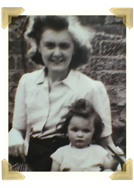 Pat Hunt with mother Mary Roberts in the party yard at the back of Russell Street