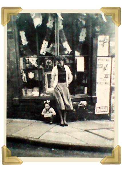 Pat and Mary outside No. 9 Russell Street on Coronation Day 1953