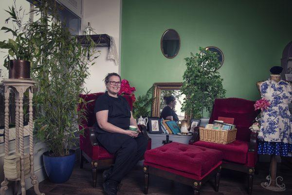 Rachael Vitins inside The Vintage Tearoom and Cafe © Marta Kochanek, Wednesbury High Street Stories, HSHAZ, 2021