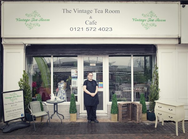 Rachael Vitins outside The Vintage Tearoom and Cafe © Marta Kochanek, Wednesbury High Street Stories, HSHAZ, 2021